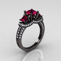 French 14K Black Gold Three Stone Raspberry Red Garnet Diamond Wedding Ring Engagement Ring R182-14KBGDRG-1