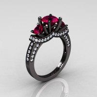 French 14K Black Gold Three Stone Raspberry Red Garnet Diamond Wedding Ring Engagement Ring R182-14KBGDRG-1