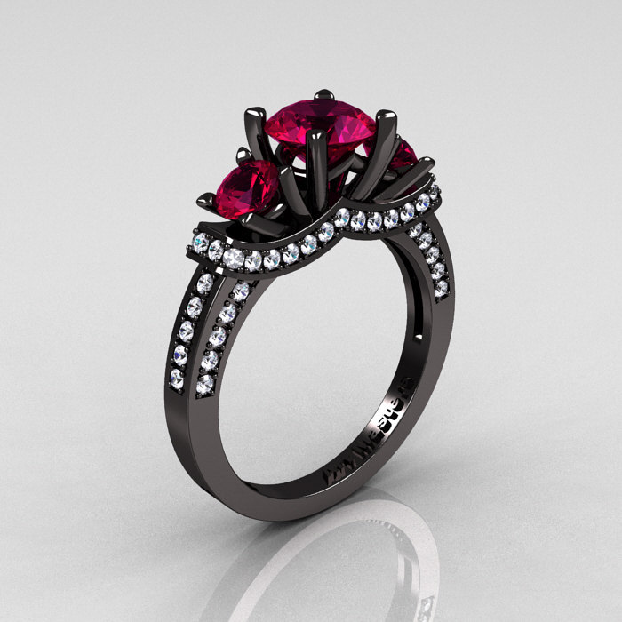 French 14k Black Gold Three Stone Raspberry Red Garnet Diamond Wedding Ring Engagement R182