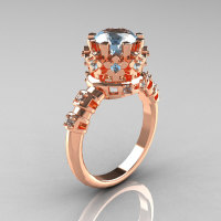 Modern Vintage 14K Pink Gold 1.5 Carat Aquamarine Classic Armenian Wedding Ring AR105-14PGAQ-1