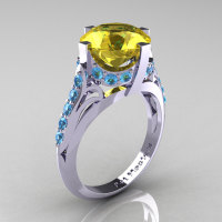 French Vintage 14K White Gold 3.0 CT Yellow Sapphire Blue Topaz Bridal Solitaire Ring Y306-14KWGBTYS-1