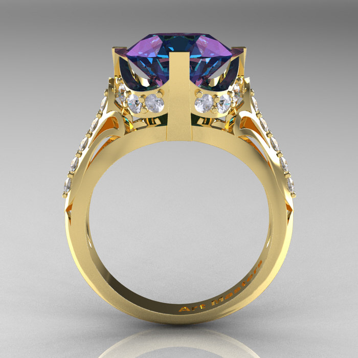 French Vintage 14k Yellow Gold 3 0 Ct Russian Alexandrite Diamond Bridal Solitaire