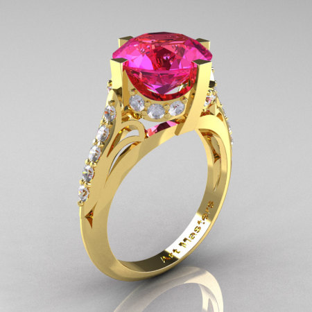 French Vintage 14K Yellow Gold 3.0 CT Pink Sapphire Diamond Bridal Solitaire Ring Y306-14KYGDPS-1