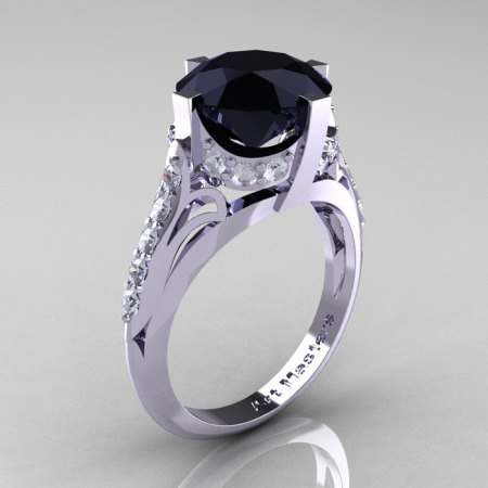 French Vintage 10K White Gold 3.0 CT Black and White Diamond Bridal Solitaire Ring Y306-10KWGDBD-1