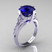 French Vintage 14K White Gold 3.0 CT Blue Sapphire Diamond Bridal Solitaire Ring Y306-14KWGDBS-1