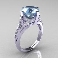 French Vintage 14K White Gold 3.0 CT Aquamarine Diamond Bridal Solitaire Ring Y306-14KWGDAQ-1