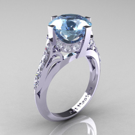 French Vintage 14K White Gold 3.0 CT Aquamarine Diamond Bridal Solitaire Ring Y306-14KWGDAQ-1