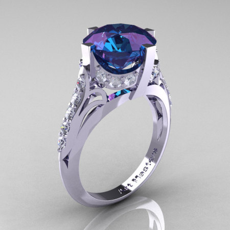 French Vintage 14K White Gold 3.0 CT Russian Alexandrite Diamond Bridal Solitaire Ring Y306-14KWGDAL-1