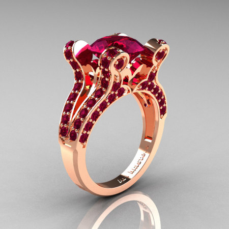 Hexe – French Vintage 14K Rose Gold 3.0 CT Raspberry Red Garnet Pisces Wedding Ring Engagement Ring Y228-14KRGRRG-1