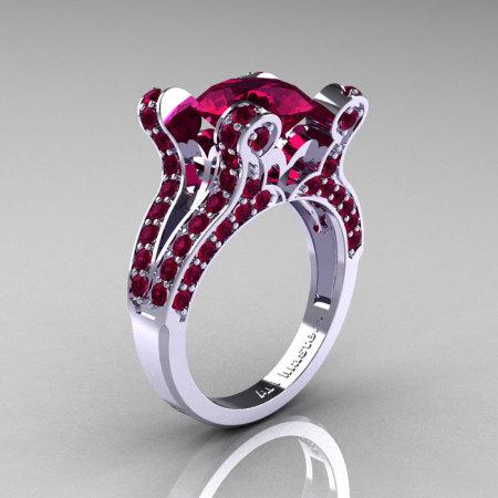 Nane – French Vintage 14K White Gold 3.0 CT Raspberry Red Garnet Pisces Wedding Ring Engagement Ring Y228-WGRRG-1
