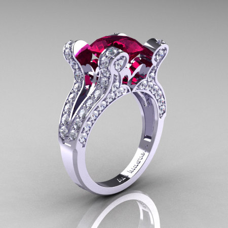 Persephone – French Vintage 14K White Gold 3.0 CT Raspberry Red Garnet Diamond Pisces Wedding Ring Engagement Ring Y228-14KWGDRRG-1