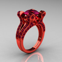 Eve - French Vintage 14K Red Gold 3.0 CT Raspberry Red Garnet Pisces Wedding Ring Engagement Ring Y228-14KREGRRG-1