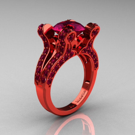 Eve – French Vintage 14K Red Gold 3.0 CT Raspberry Red Garnet Pisces Wedding Ring Engagement Ring Y228-14KREGRRG-1