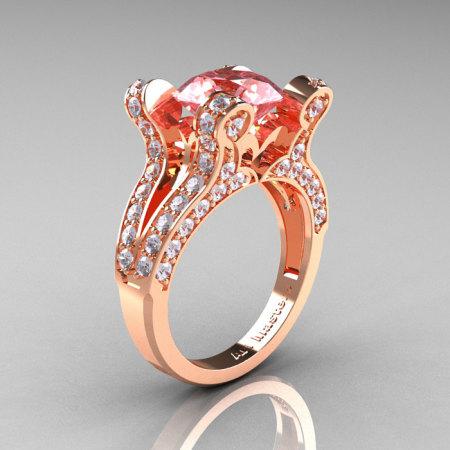 Hera – French Vintage 14K White Gold 3.0 CT Morganite Diamond Pisces Wedding Ring Engagement Ring Y228-14KWGDMO-1