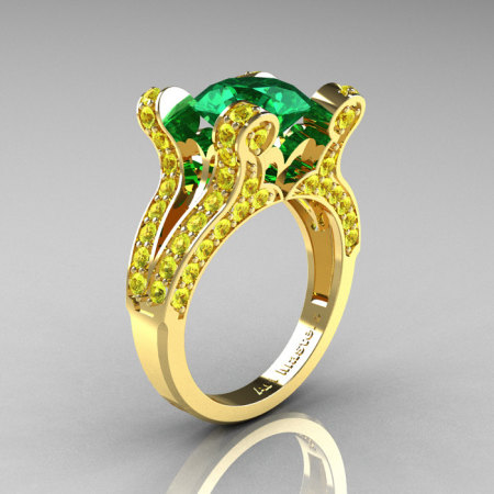 Themis – French Vintage 14K Yellow Gold 3.0 Emerald Yellow Sapphire Pisces Wedding Ring Engagement Ring Y228-14KYGYSEM-1