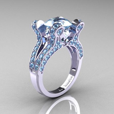 Anahit – French Vintage 14K White Gold 3.0 Aquamarine Pisces Wedding Ring Engagement Ring Y228-14KWGAQ-1