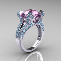 French Vintage 14K White Gold 3.0 Light Pink Sapphire Aquamarine Pisces Wedding Ring Engagement Ring Y228-14KWGAQLPS-1