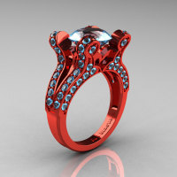 Artemis - French Vintage 14K Red Gold 3.0 CT Aquamarine Pisces Wedding Ring Engagement Ring Y228-14KREGAQ-1