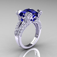 Catherine - French Vintage 14K White Gold 3.0 CT Blue Sapphire Diamond Pisces Wedding Ring Engagement Ring Y228-14KWGDBS-1