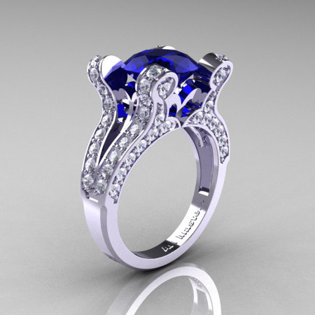 Catherine – French Vintage 14K White Gold 3.0 CT Blue Sapphire Diamond Pisces Wedding Ring Engagement Ring Y228-14KWGDBS-1