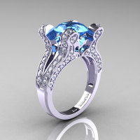French Vintage 14K White Gold 3.0 CT Blue Topaz Diamond Pisces Wedding Ring Engagement Ring Y228-14KWGDBT-1