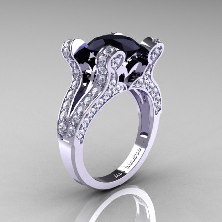 French Vintage 14K White Gold 3.0 CT Black and White Diamond Pisces Wedding Ring Engagement Ring Y228-14KWGDBD-1