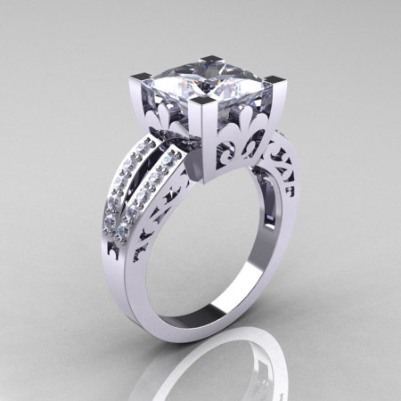 Modern Vintage 14K White Gold 3.8 Carat Princess White Sapphire Diamond Solitaire and Wedding Ring Bridal Set R222S-14WBGDWS-1