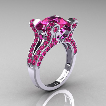 French Vintage 14K White Gold 3.0 CT Pink Sapphire Pisces Wedding Ring Engagement Ring Y228-14KWGPS-1
