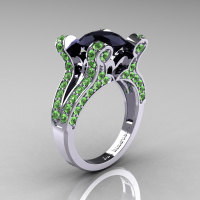 French Vintage 14K White Gold 3.0 CT Black Diamond Green Topaz Pisces Wedding Ring Engagement Ring Y228-14KWGGTBD-1