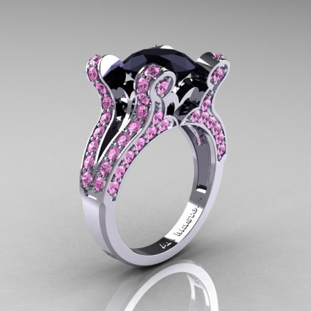 French Vintage 14K White Gold 3.0 CT Black Diamond Light Pink Sapphire Pisces Wedding Ring Engagement Ring Y228-14KWGLPSBD-1