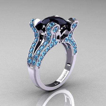 French Vintage 14K White Gold 3.0 CT Black Diamond Blue Topaz Pisces Wedding Ring Engagement Ring Y228-14KWGBTBD-1