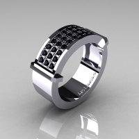 Gentlemens Modern 14K White Gold 33 Stone Black Diamond Ring MR184-14KWGBD-1