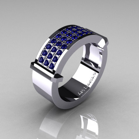 Gentlemens Modern 14K White Gold 33 Stone Blue Sapphire Ring MR184-14KWGBS-1