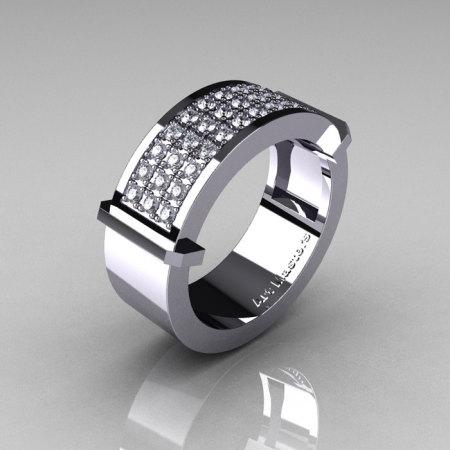 Gentlemens Modern 14K White Gold 33 Stone Pink Diamond Ring MR184-14KWGD-1
