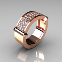 Gentlemens Modern 14K Rose Gold 33 Stone Pink Diamond Ring MR184-14KRGD-1