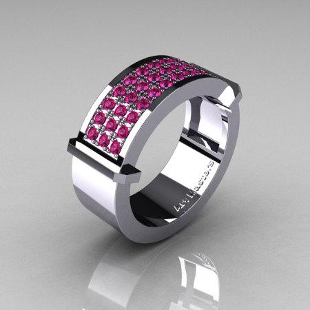 Gentlemens Modern 14K White Gold 33 Stone Pink Sapphire Ring MR184-14KWGPS-1
