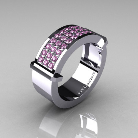 Gentlemens Modern 14K White Gold 33 Stone Light Pink Sapphire Ring MR184-14KWGLPS-1