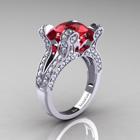 French Vintage 14K White Gold 3.0 CT Ruby Diamond Pisces Wedding Ring Engagement Ring Y228-14KWGDR-1