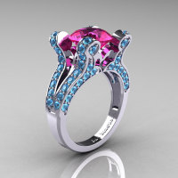 French Vintage 14K White Gold 3.0 Pink Sapphire Blue Topaz Pisces Wedding Ring Engagement Ring Y228-14KWGBTPS-1