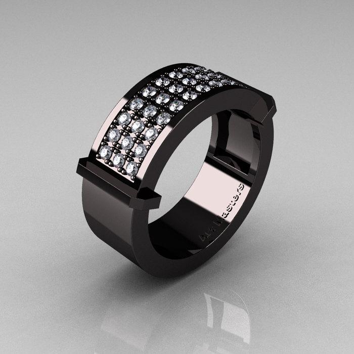 Gentlemens Modern 14K Black Gold 33 Stone Pink Diamond Ring MR184 14KBGD