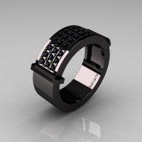 Gentlemens Modern 14K Black Gold 33 Stone Black Diamond Ring MR184-14KBGBD-1