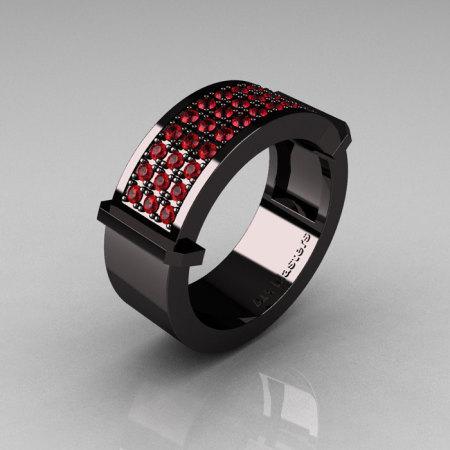Gentlemens Modern 14K Black Gold 33 Stone Rubies Ring MR184-14KBGBR-1
