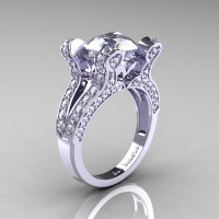 French Vintage 14K White Gold 3.0 CT White Sapphire Diamond Pisces Wedding Ring Engagement Ring Y228-14KWGDWS-1