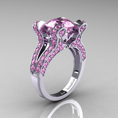 French Vintage 14K White Gold 3.0 CT Light Pink Sapphire Pisces Wedding Ring Engagement Ring Y228-14KWGLPS-1