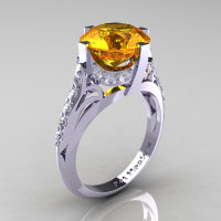 French Vintage 14K White Gold 3.0 CT Citrine Diamond Bridal Solitaire Ring Y306-14KWGDCI-1
