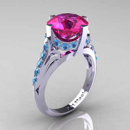 French Vintage 14K White Gold 3.0 CT Pink Sapphire Blue Topaz Bridal Solitaire Ring Y306-14KWGBTPS-1