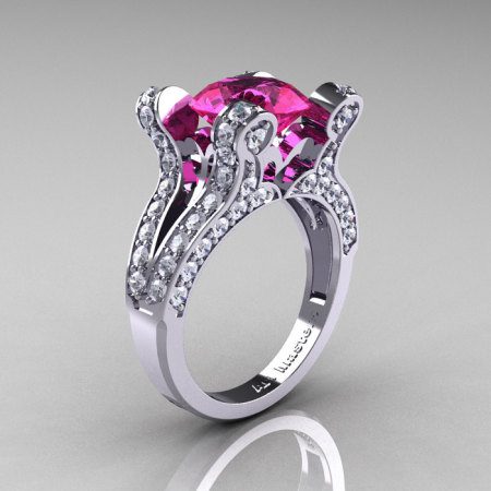 French Vintage 14K White Gold 3.0 CT Pink Sapphire Diamond Pisces Wedding Ring Engagement Ring Y228-14KWGDPS-1