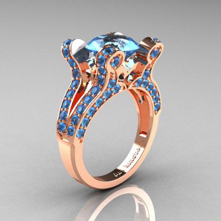 Aphrodite – French Vintage 14K Rose Gold 3.0 CT Blue Topaz Pisces Wedding Ring Engagement Ring Y228-14KRGBT-1