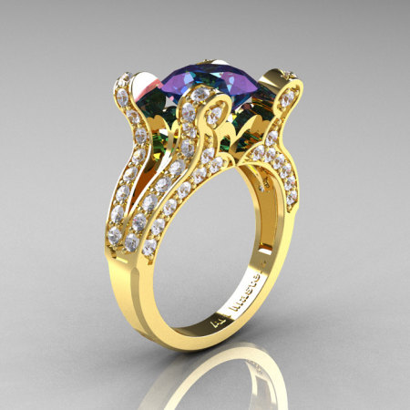 French Vintage 14K Yellow Gold 3.0 CT Russian Alexandrite Diamond Pisces Wedding Ring Engagement Ring Y228-14KYGDAL-1