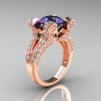 French Vintage 14K Rose Gold 3.0 CT Russian Alexandrite Diamond Pisces Wedding Ring Engagement Ring Y228-14KRGDAL-1